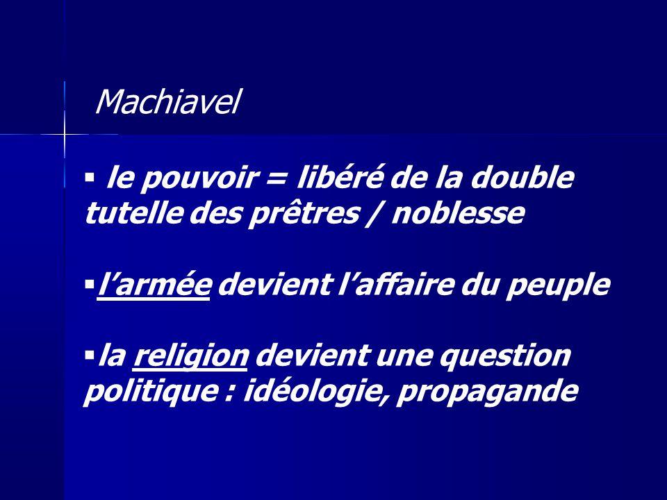 Machiavel le pouvoir = libéré de la double tutelle des prêtres / noblesse. l'armée devient l'affaire du peuple.