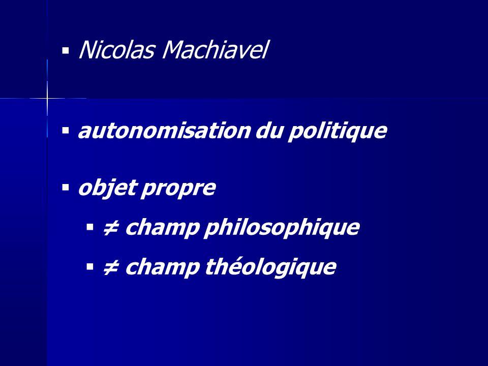autonomisation du politique objet propre ≠ champ philosophique