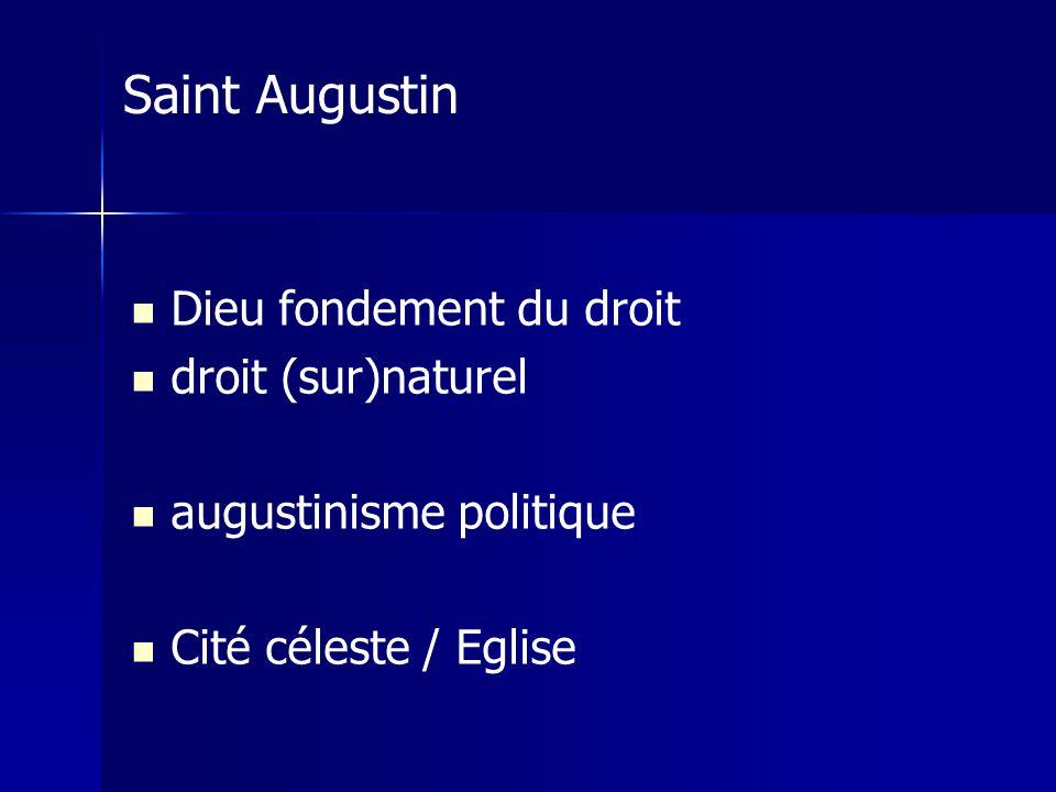Saint Augustin Dieu fondement du droit droit (sur)naturel