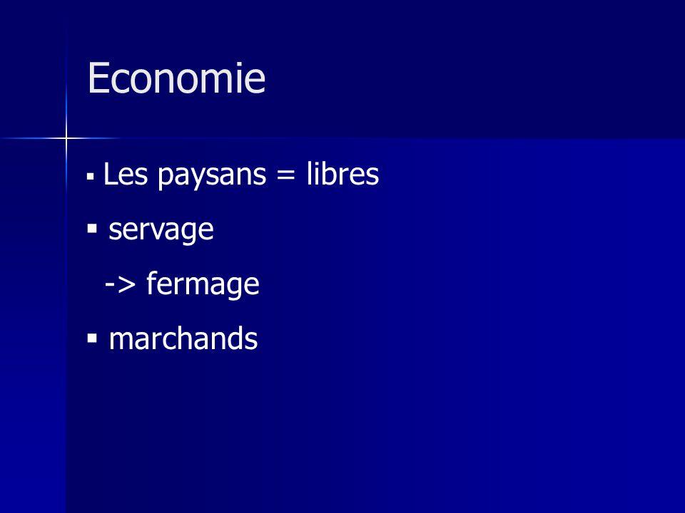 Economie Les paysans = libres servage -> fermage marchands