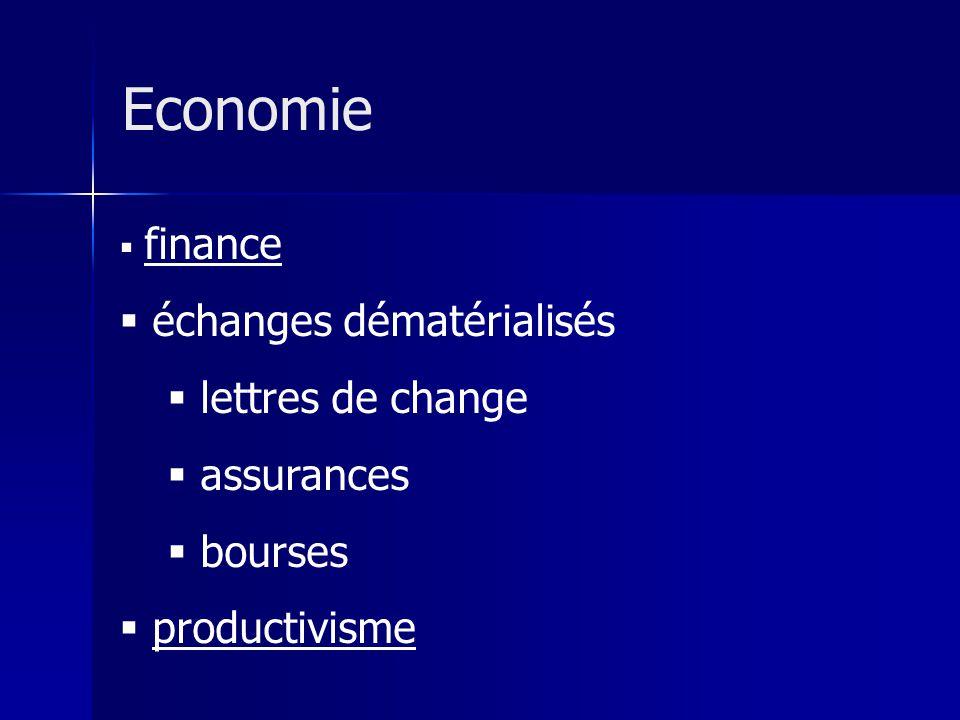 Economie échanges dématérialisés lettres de change assurances bourses