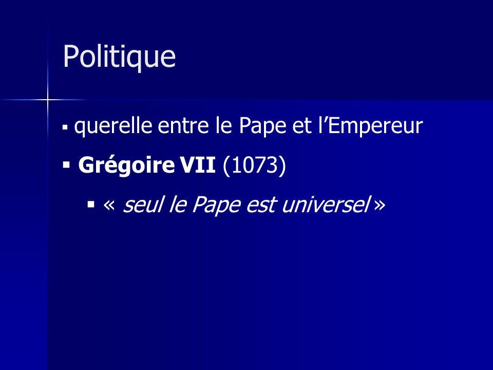 Politique Grégoire VII (1073) « seul le Pape est universel »