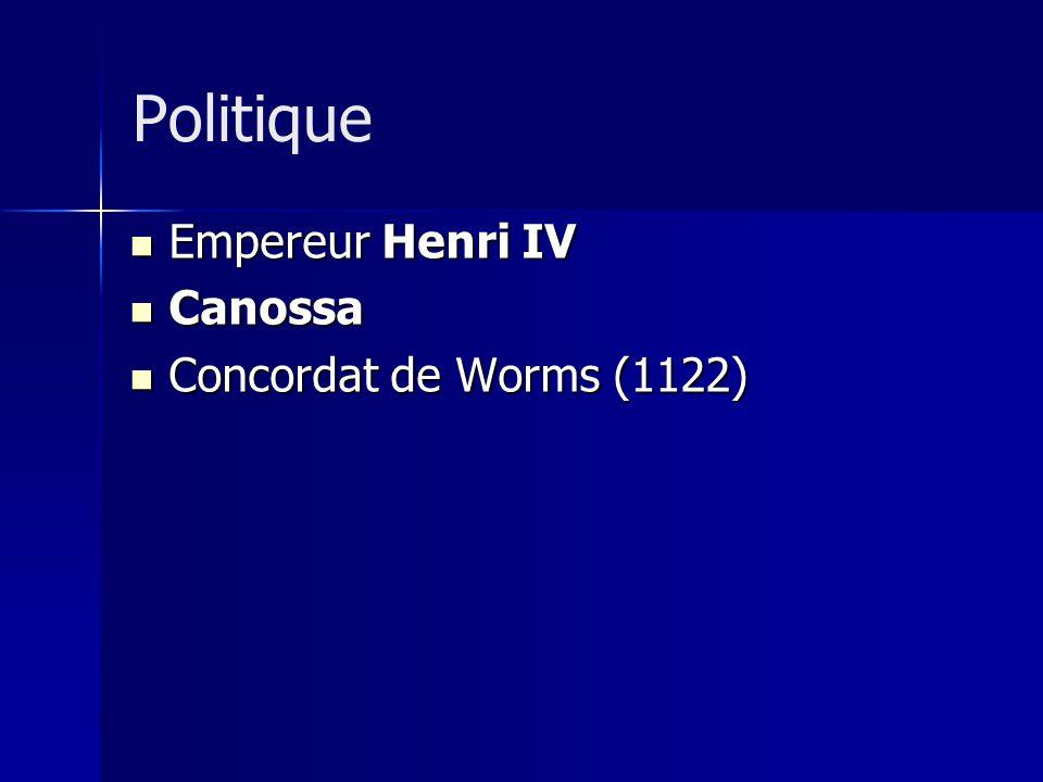 Politique Empereur Henri IV Canossa Concordat de Worms (1122)