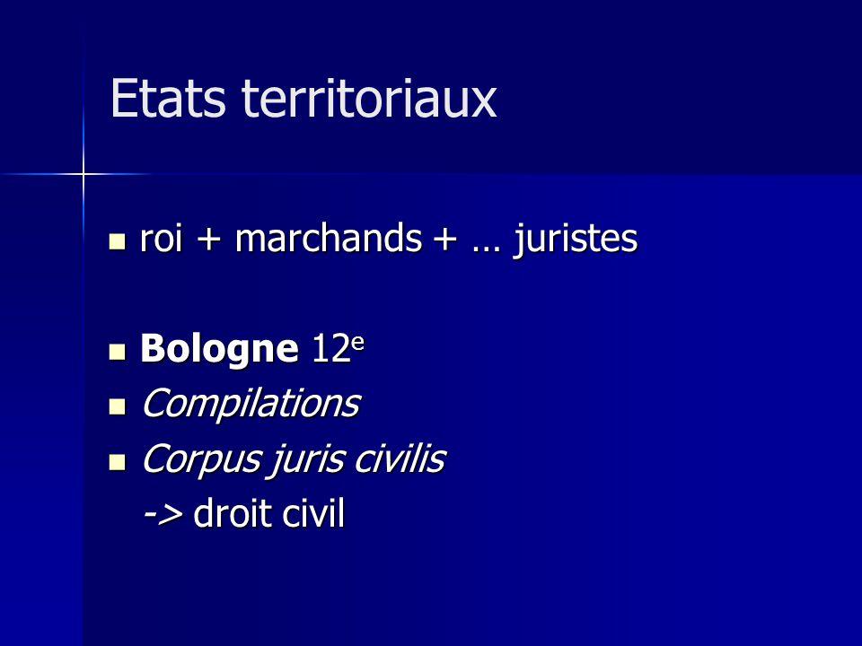 Etats territoriaux roi + marchands + … juristes Bologne 12e
