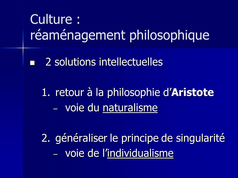Culture : réaménagement philosophique