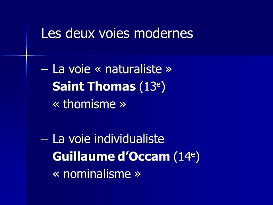 La voie individualiste Guillaume d'Occam (14e) « nominalisme »
