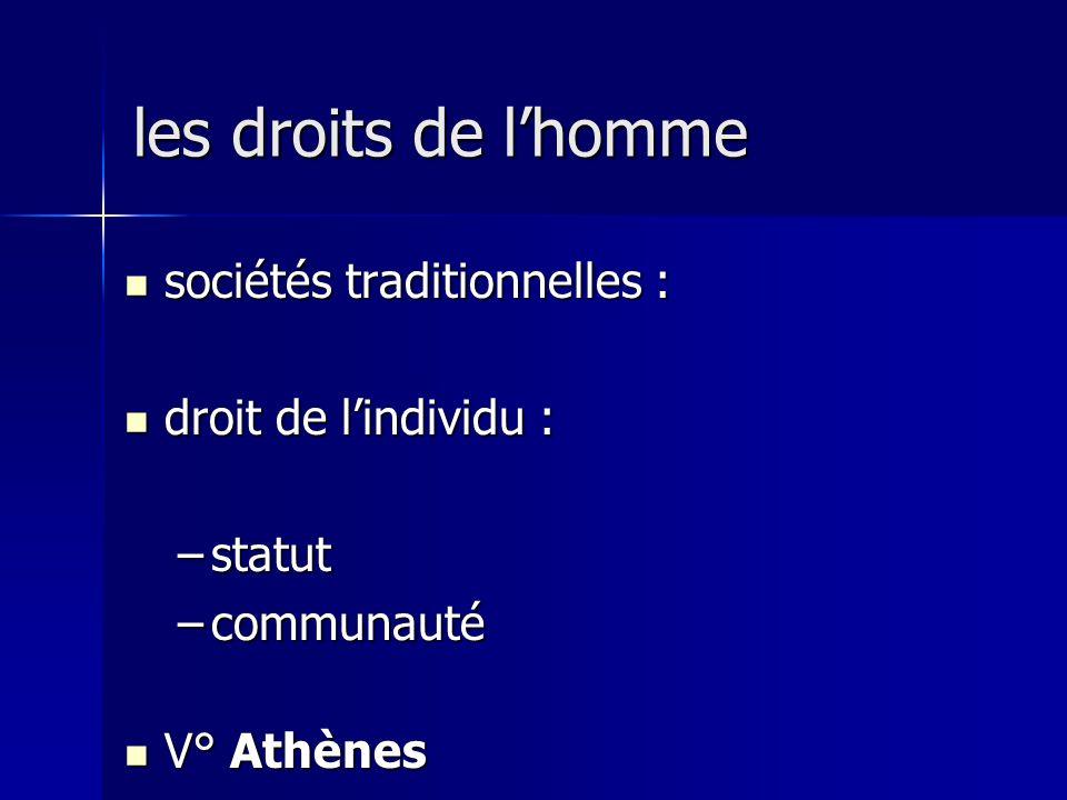 les droits de l'homme sociétés traditionnelles : droit de l'individu :