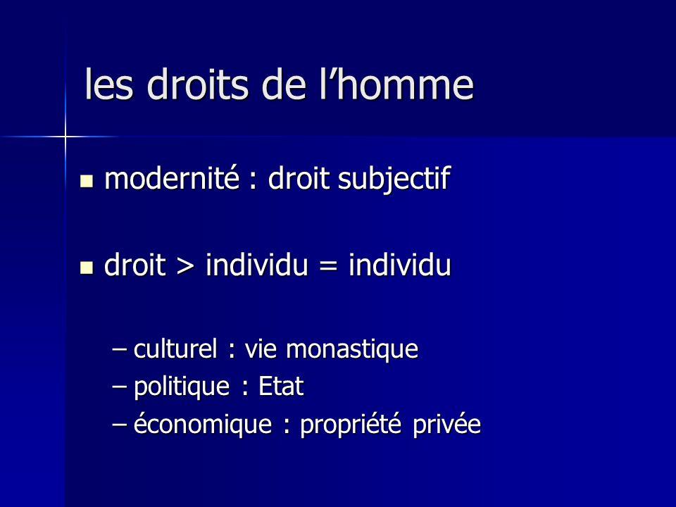 les droits de l'homme modernité : droit subjectif