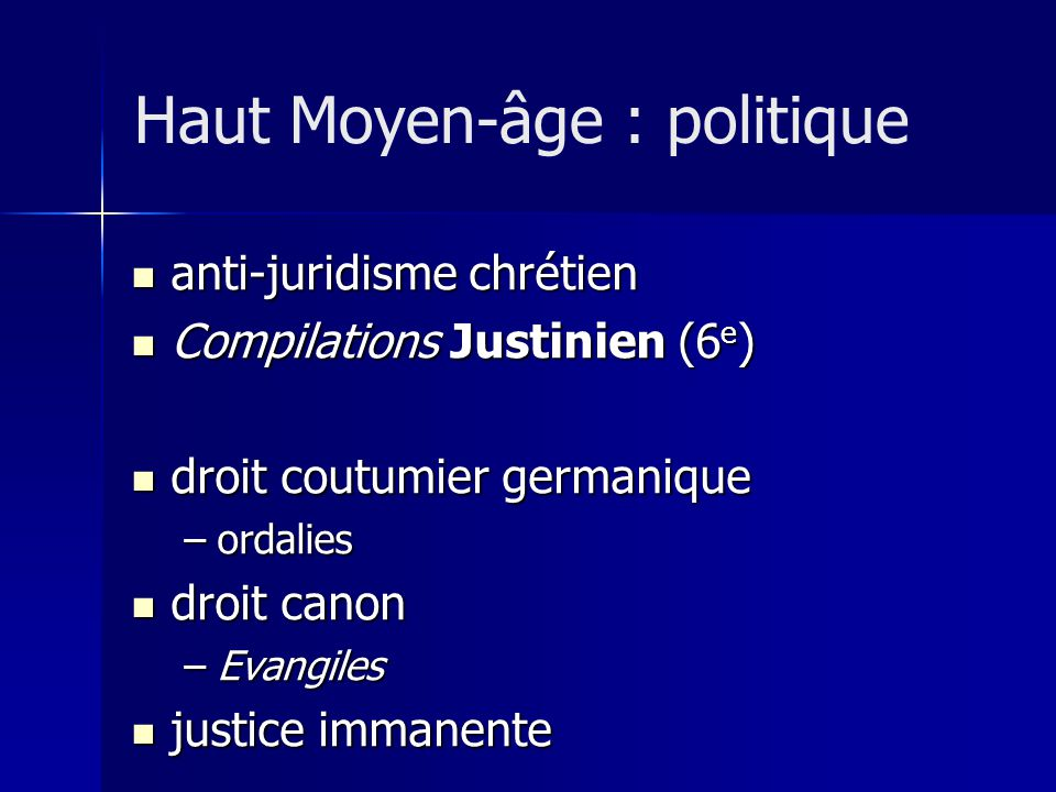 Haut Moyen-âge : politique