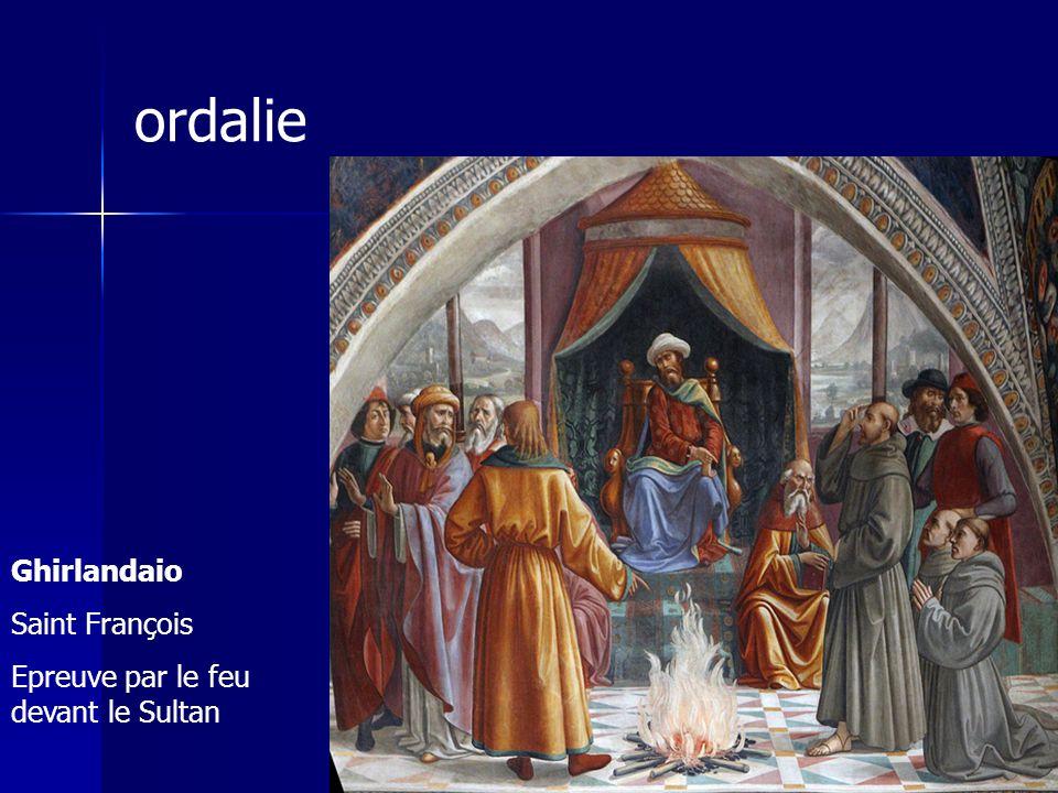 ordalie Ghirlandaio Saint François Epreuve par le feu devant le Sultan