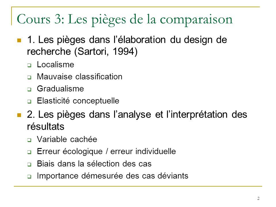 Cours 3: Les pièges de la comparaison