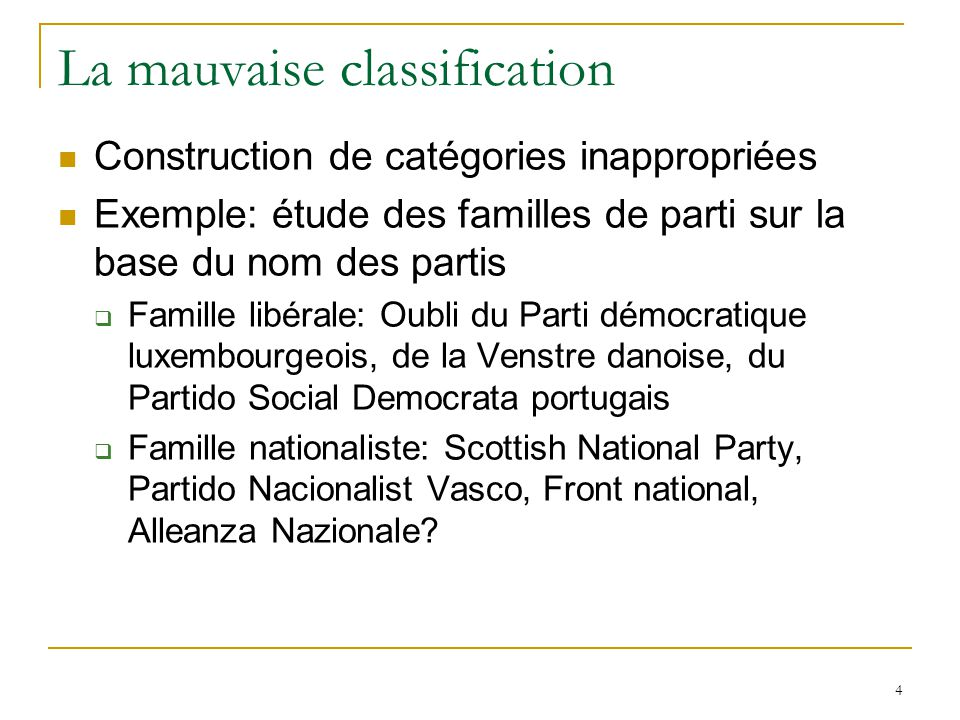 La mauvaise classification