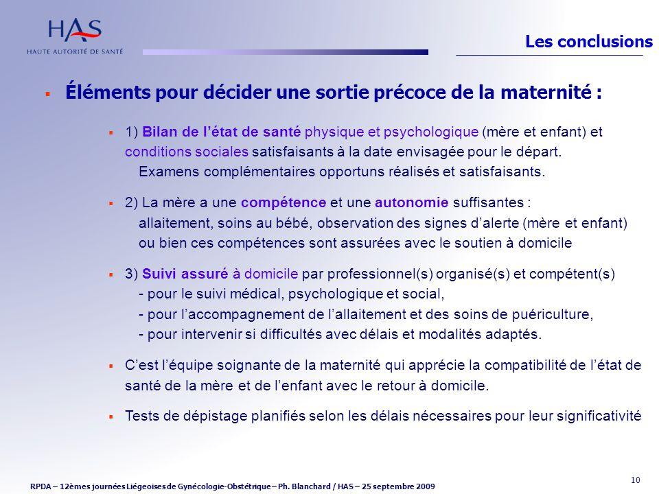 Éléments pour décider une sortie précoce de la maternité :