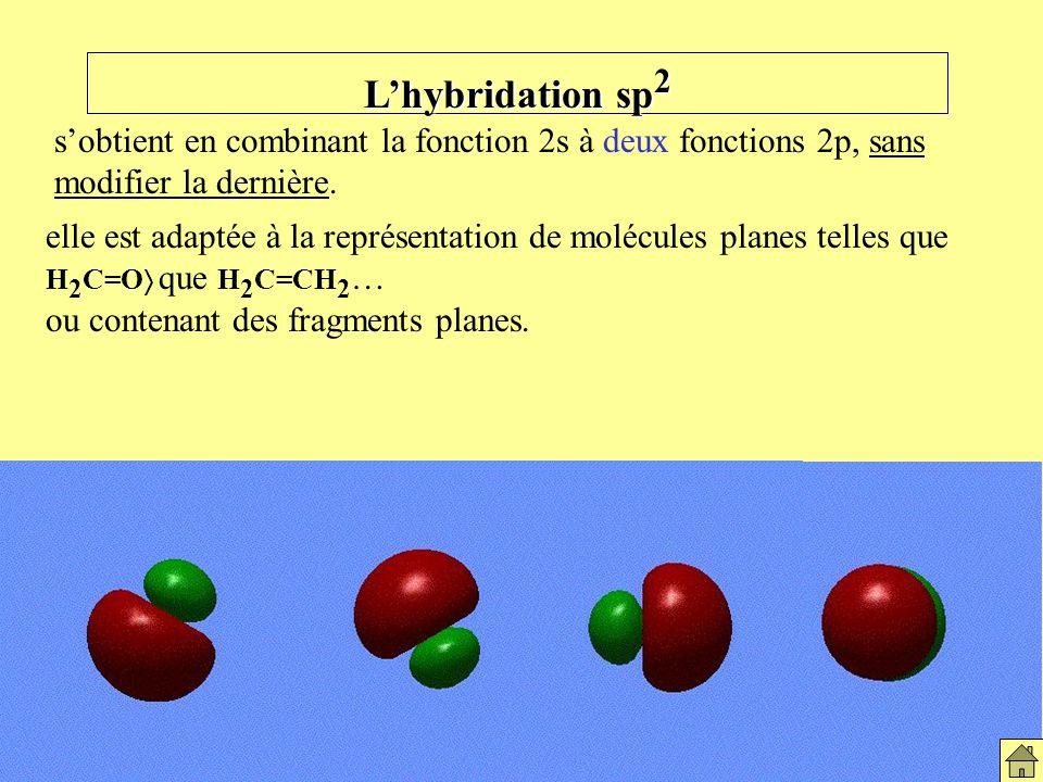 Hybridation sp2 L'hybridation sp2. s'obtient en combinant la fonction 2s à deux fonctions 2p, sans modifier la dernière.