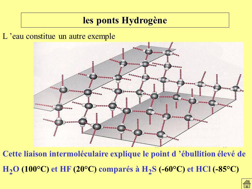 les ponts Hydrogène L 'eau constitue un autre exemple