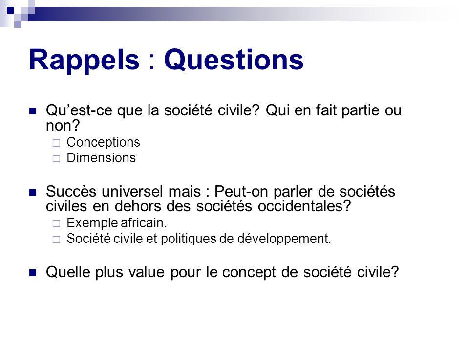 Rappels : Questions Qu'est-ce que la société civile Qui en fait partie ou non Conceptions. Dimensions.