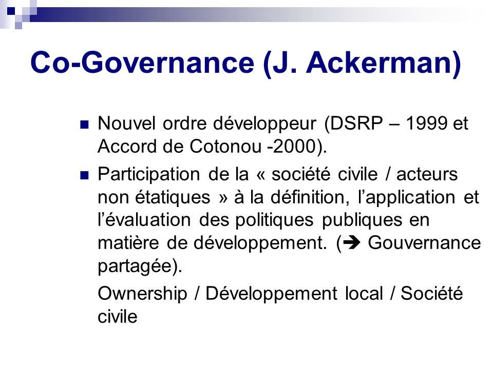 Co-Governance (J. Ackerman)