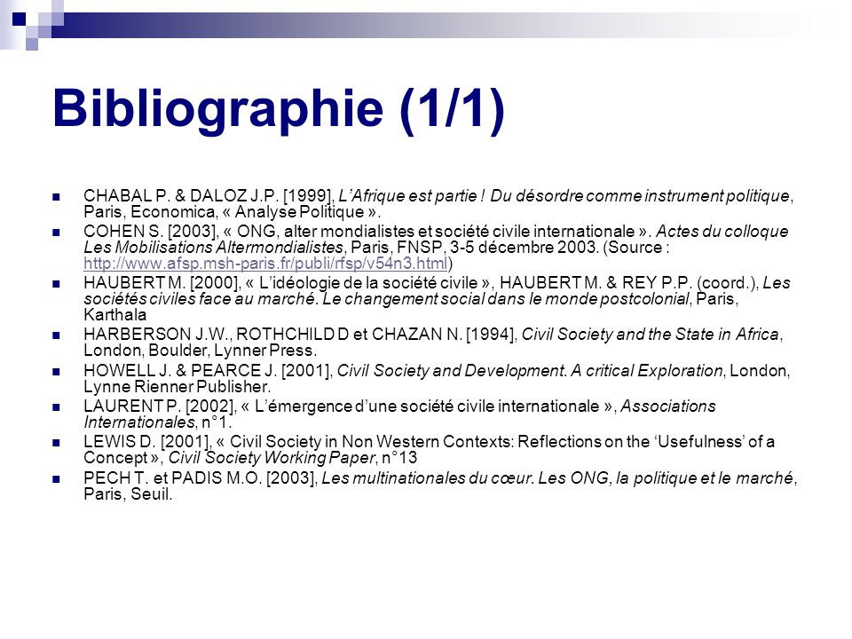 Bibliographie (1/1)