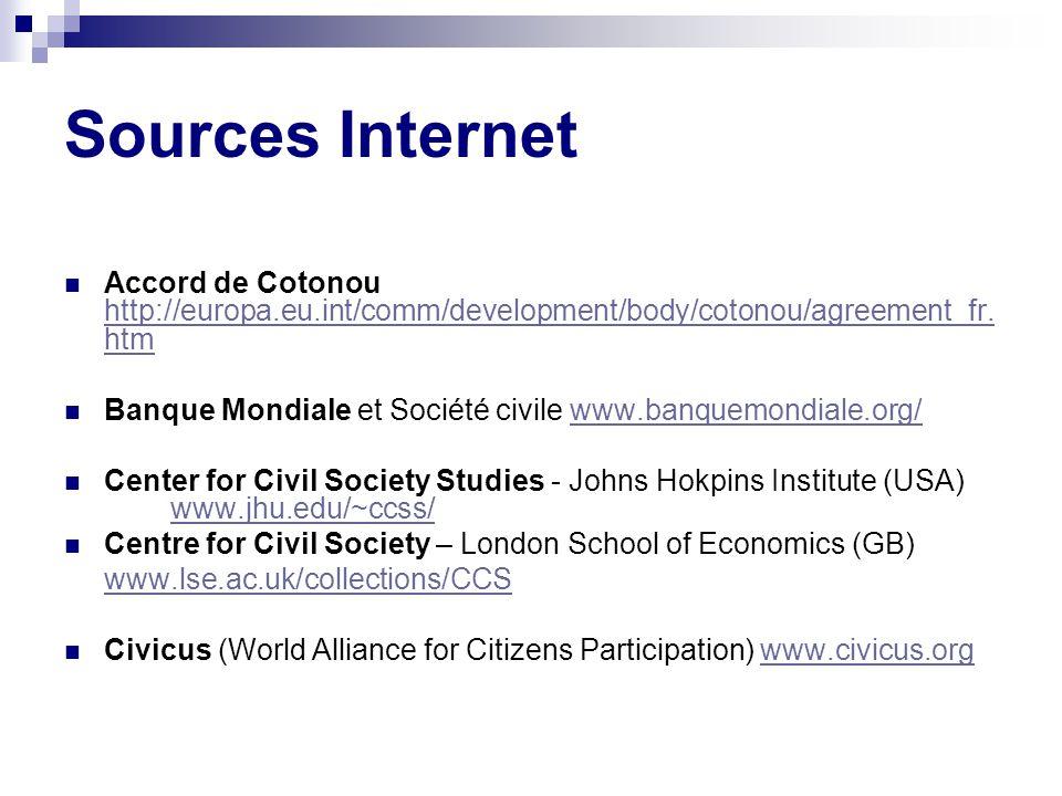 Sources Internet Accord de Cotonou http://europa.eu.int/comm/development/body/cotonou/agreement_fr.htm.