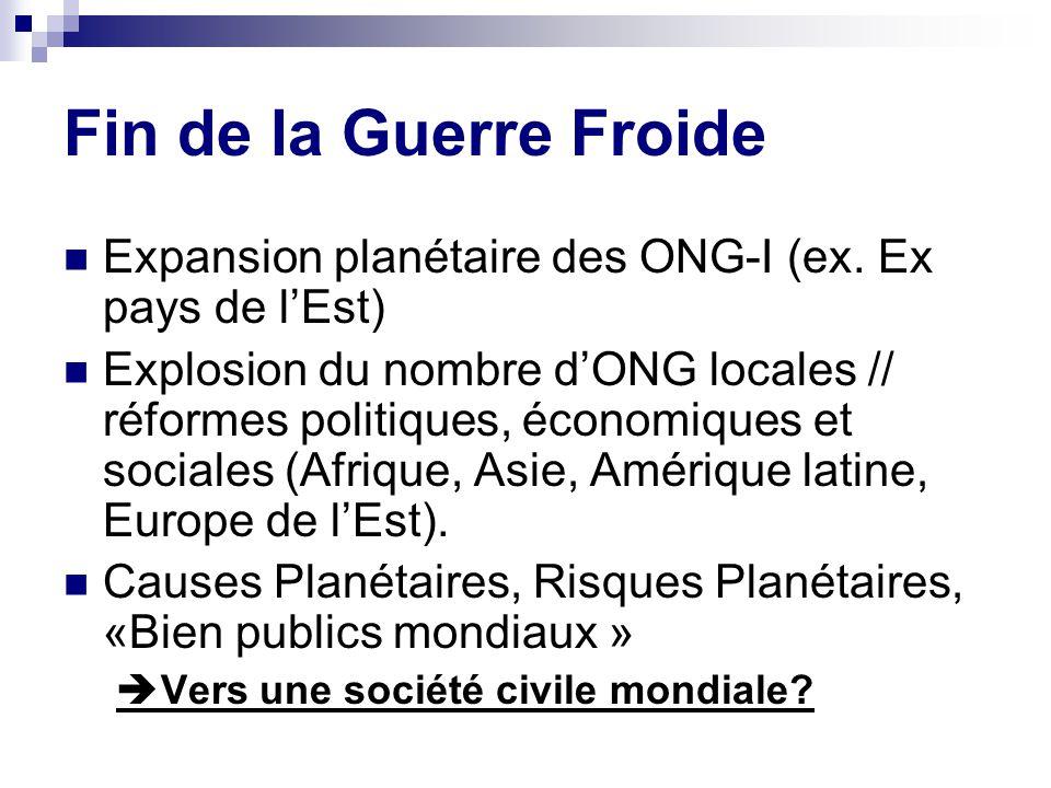 Fin de la Guerre Froide Expansion planétaire des ONG-I (ex. Ex pays de l'Est)