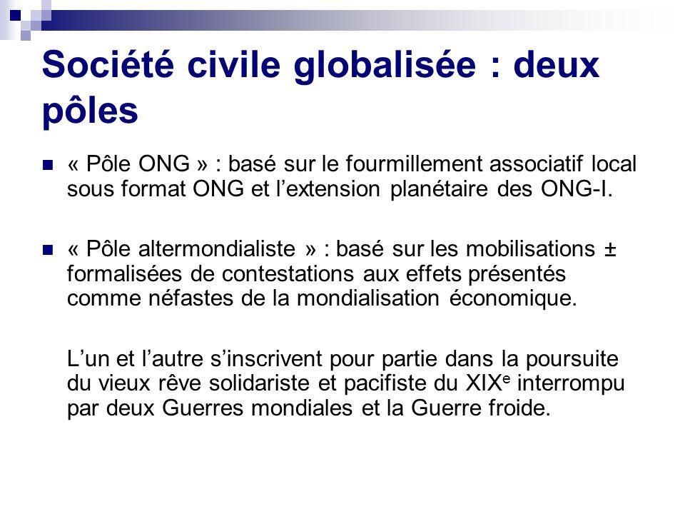 Société civile globalisée : deux pôles