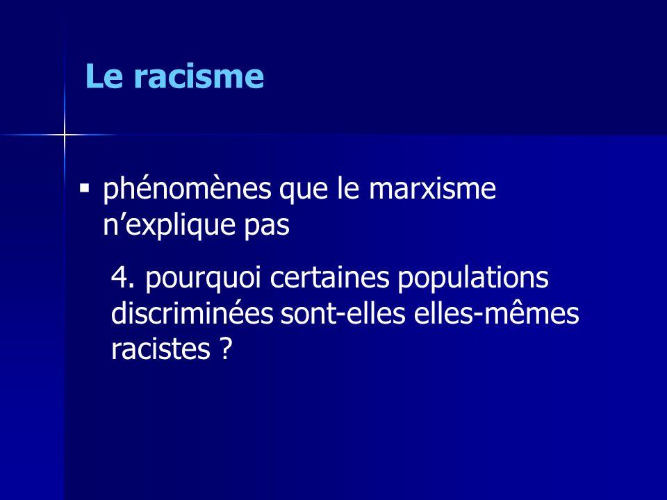 Le racisme phénomènes que le marxisme n'explique pas