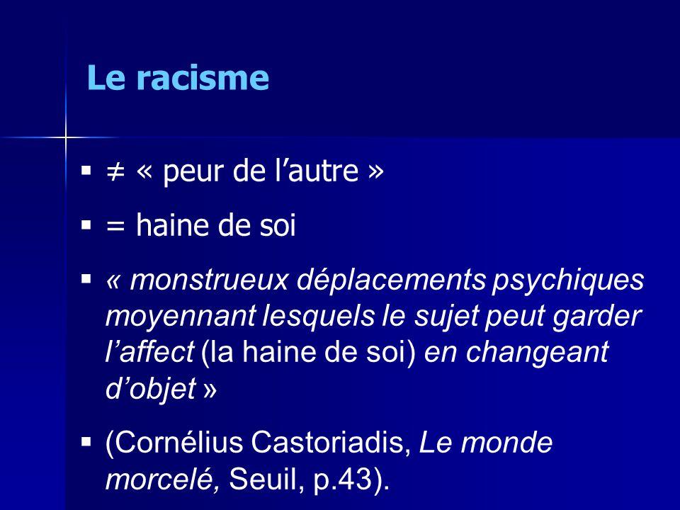 Le racisme ≠ « peur de l'autre » = haine de soi