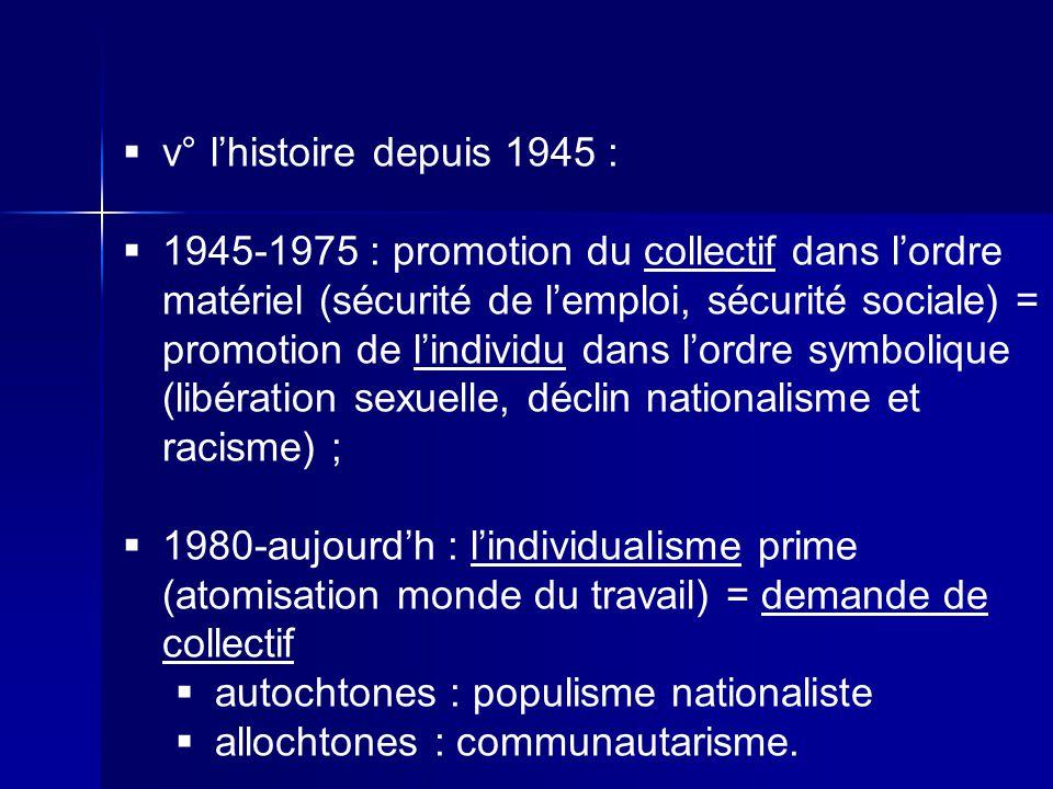 v° l'histoire depuis 1945 :
