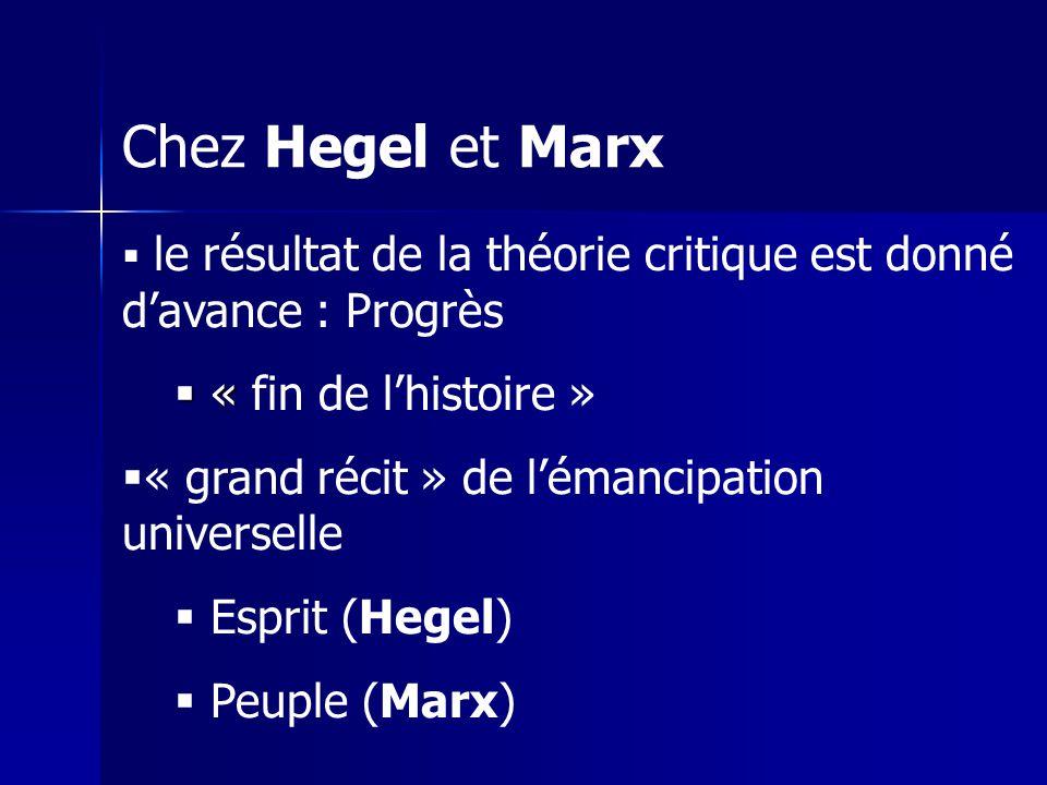 Chez Hegel et Marx « fin de l'histoire »