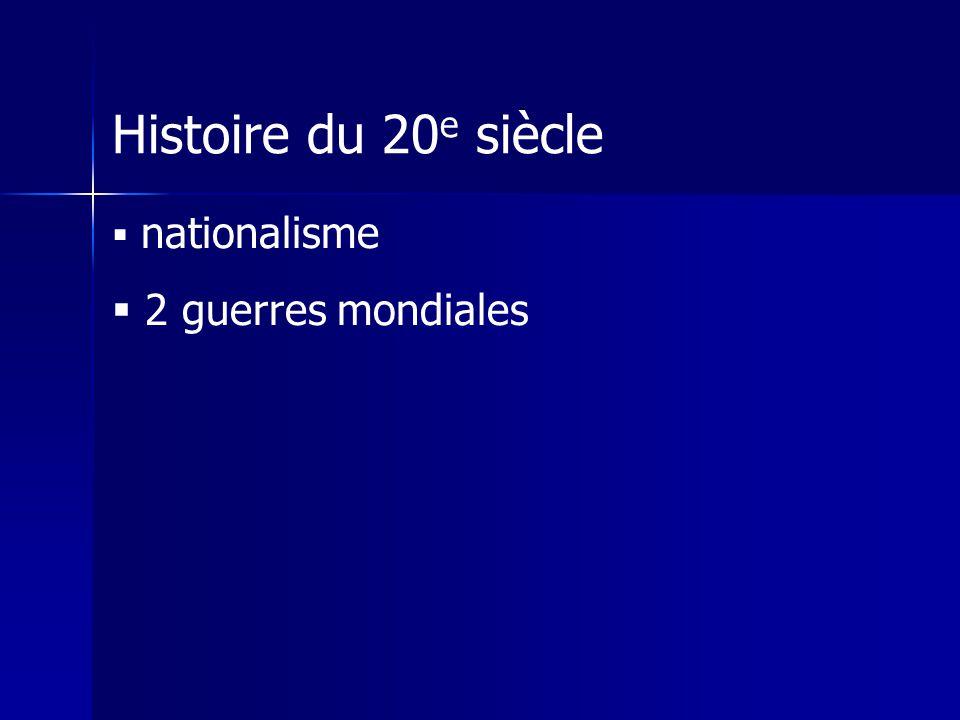 Histoire du 20e siècle nationalisme 2 guerres mondiales