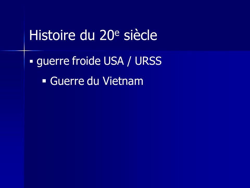 Histoire du 20e siècle guerre froide USA / URSS Guerre du Vietnam