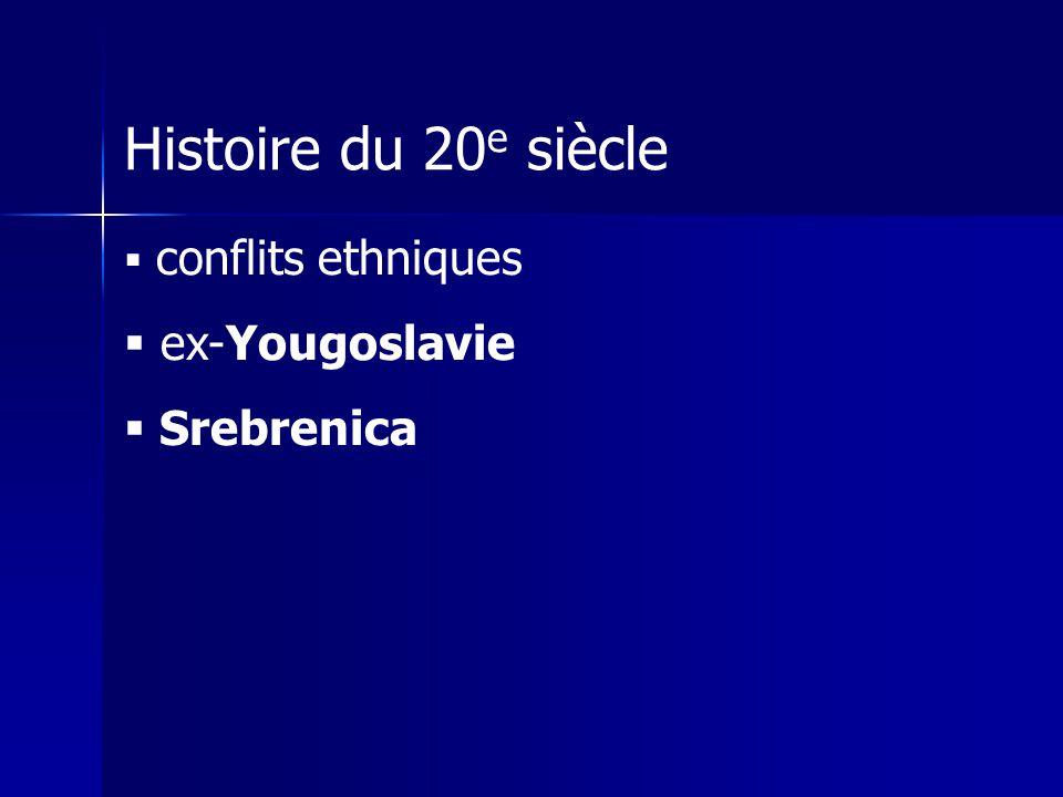 Histoire du 20e siècle conflits ethniques ex-Yougoslavie Srebrenica