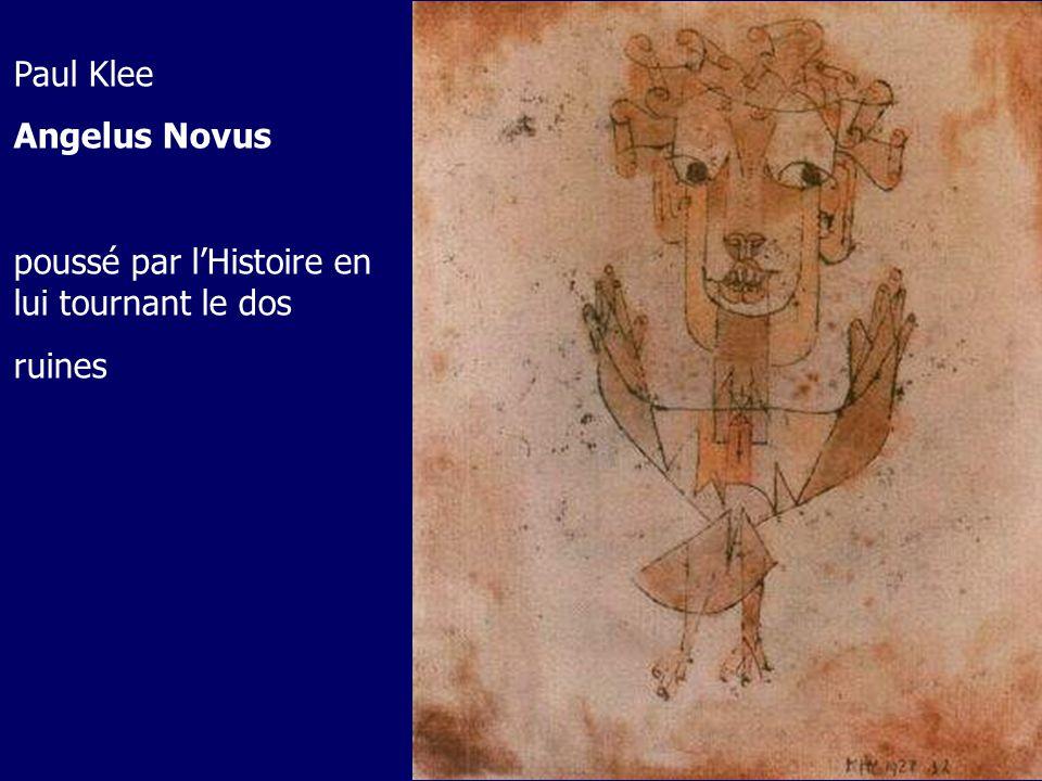 Paul Klee Angelus Novus poussé par l'Histoire en lui tournant le dos ruines