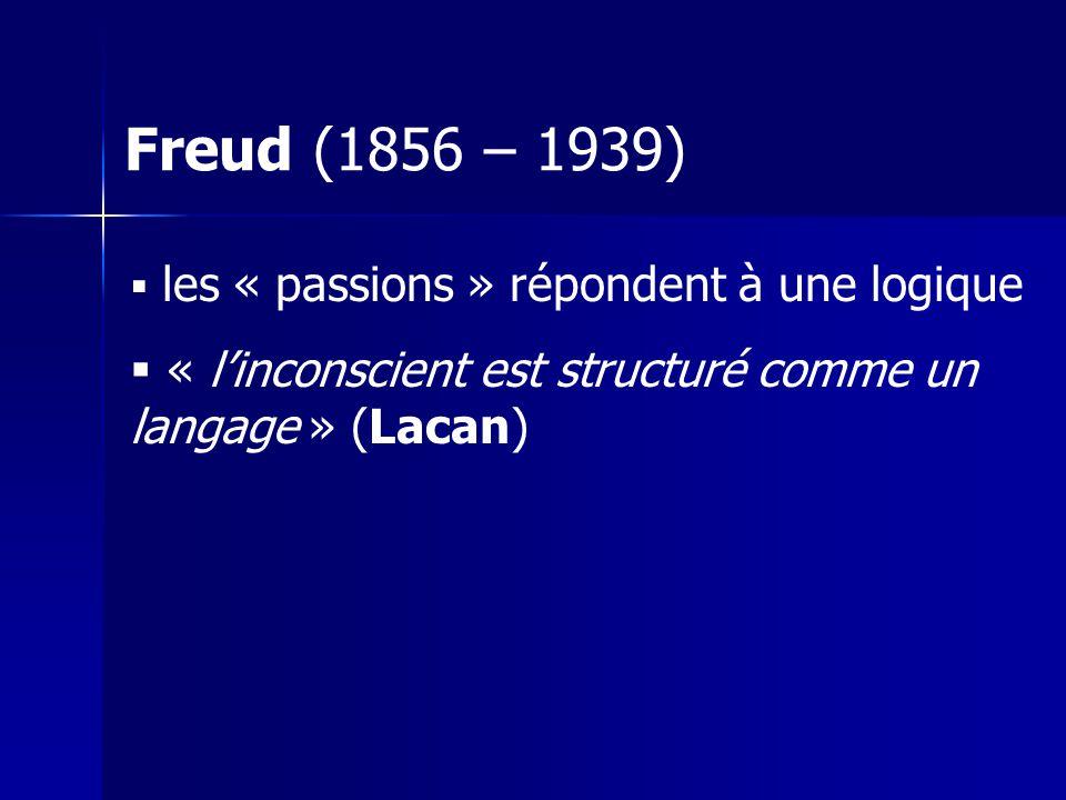 Freud (1856 – 1939) les « passions » répondent à une logique.