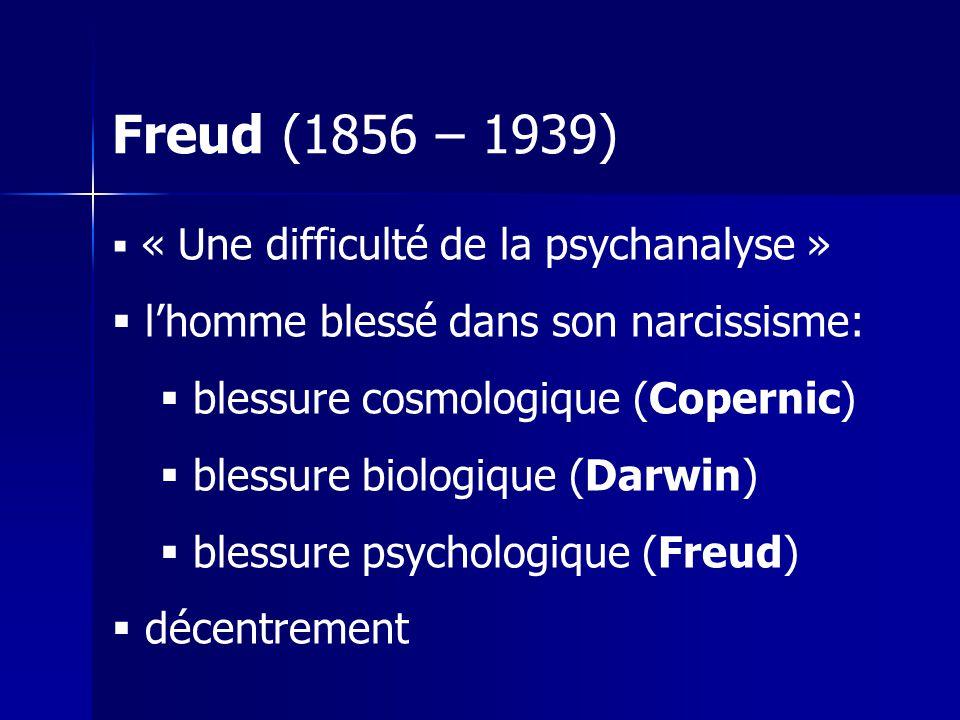Freud (1856 – 1939) l'homme blessé dans son narcissisme: