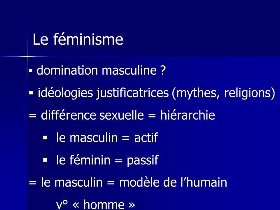 Le féminisme idéologies justificatrices (mythes, religions)