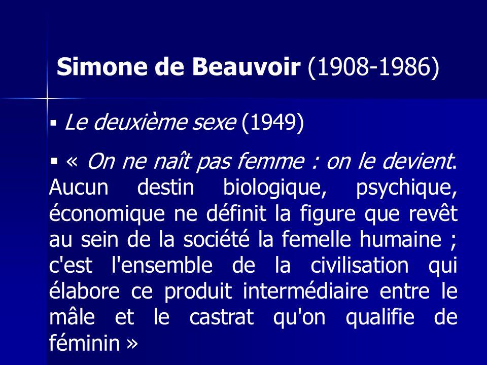 Simone de Beauvoir (1908-1986) Le deuxième sexe (1949)