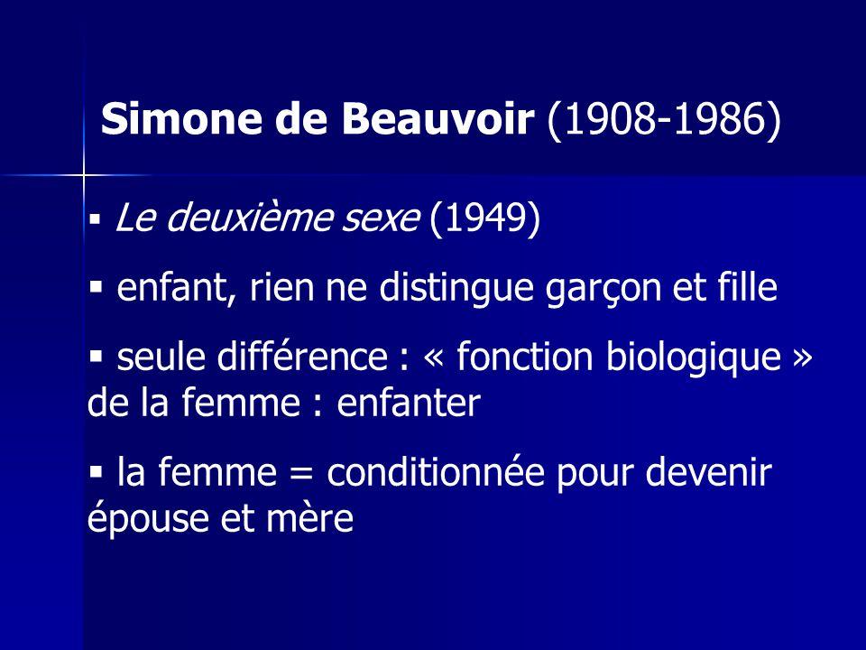 Simone de Beauvoir (1908-1986) Le deuxième sexe (1949) enfant, rien ne distingue garçon et fille.