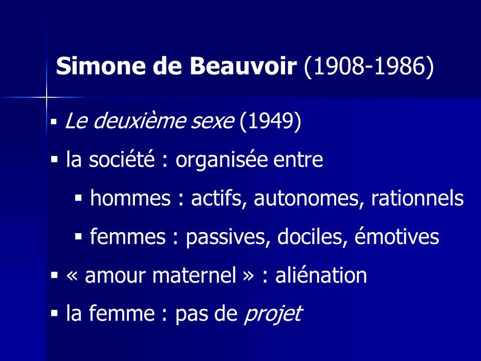 Simone de Beauvoir (1908-1986) la société : organisée entre