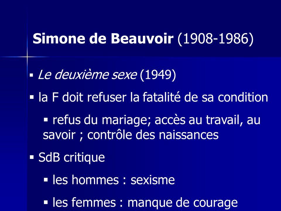 Simone de Beauvoir (1908-1986) Le deuxième sexe (1949) la F doit refuser la fatalité de sa condition.