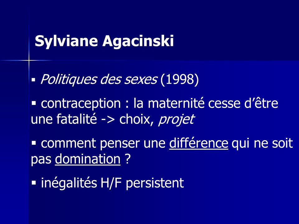 Sylviane Agacinski Politiques des sexes (1998) contraception : la maternité cesse d'être une fatalité -> choix, projet.