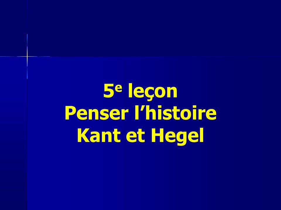 5e leçon Penser l'histoire Kant et Hegel