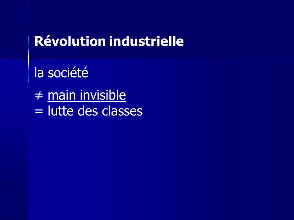 Révolution industrielle la société ≠ main invisible