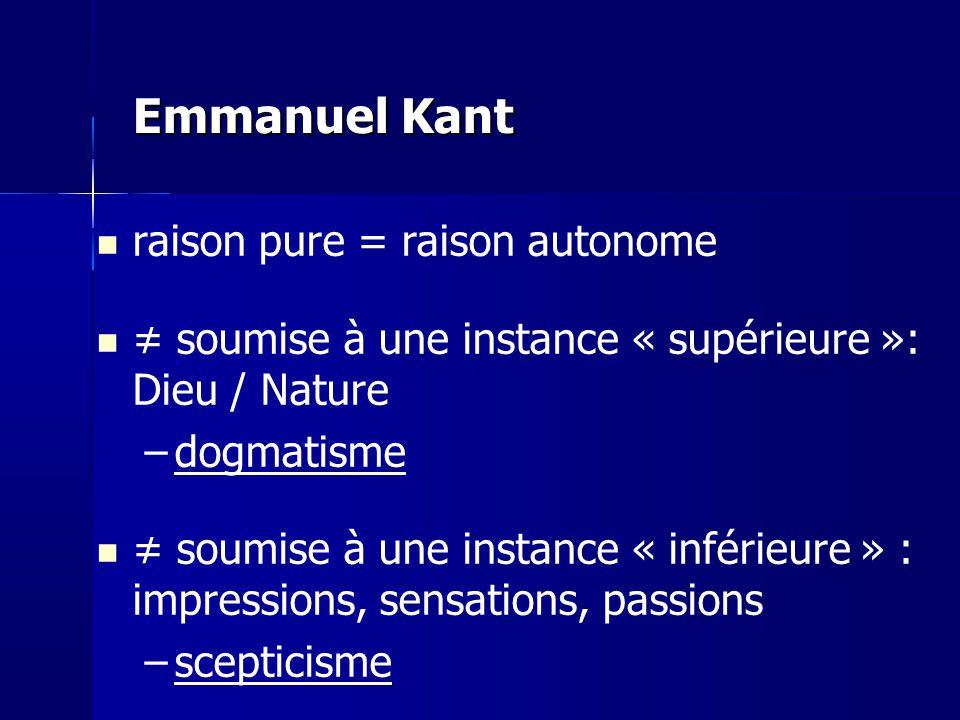 Emmanuel Kant raison pure = raison autonome