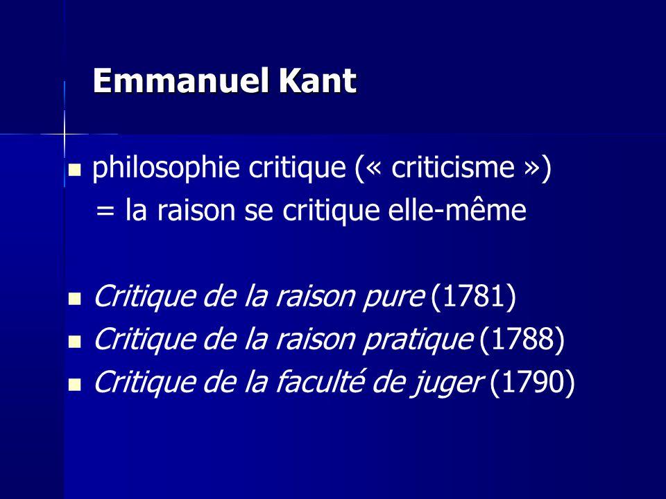 Emmanuel Kant philosophie critique (« criticisme »)