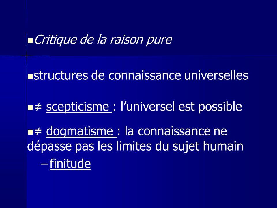 Critique de la raison pure structures de connaissance universelles