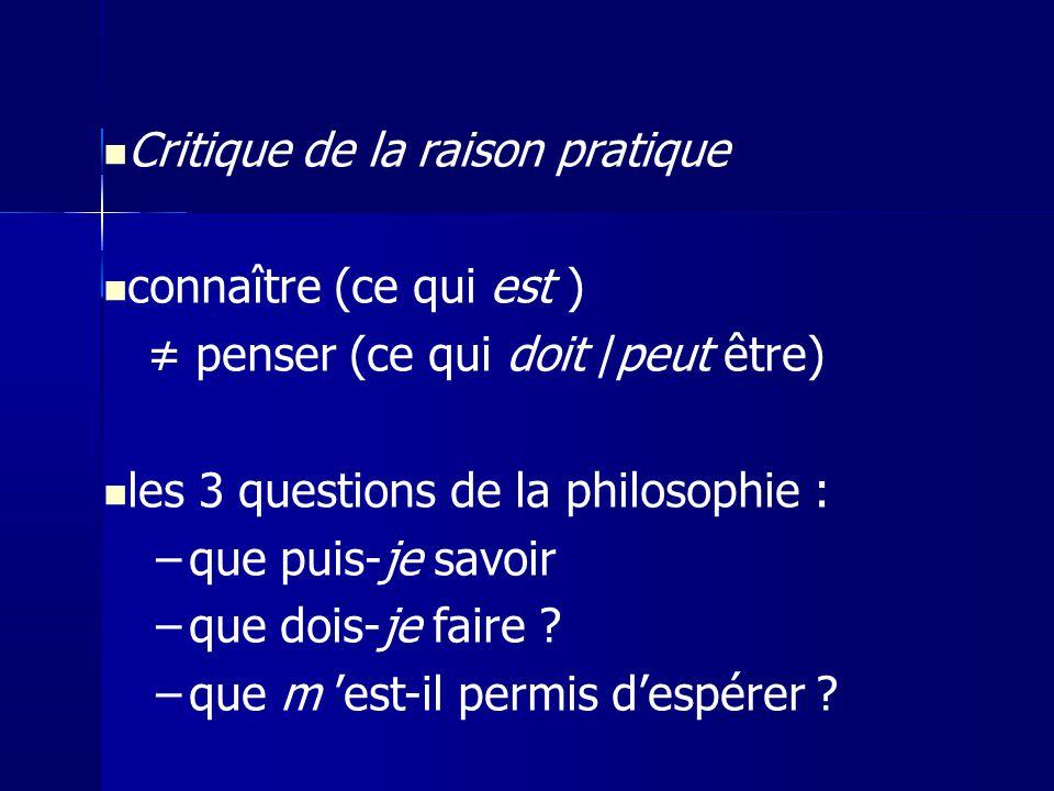 Critique de la raison pratique connaître (ce qui est )