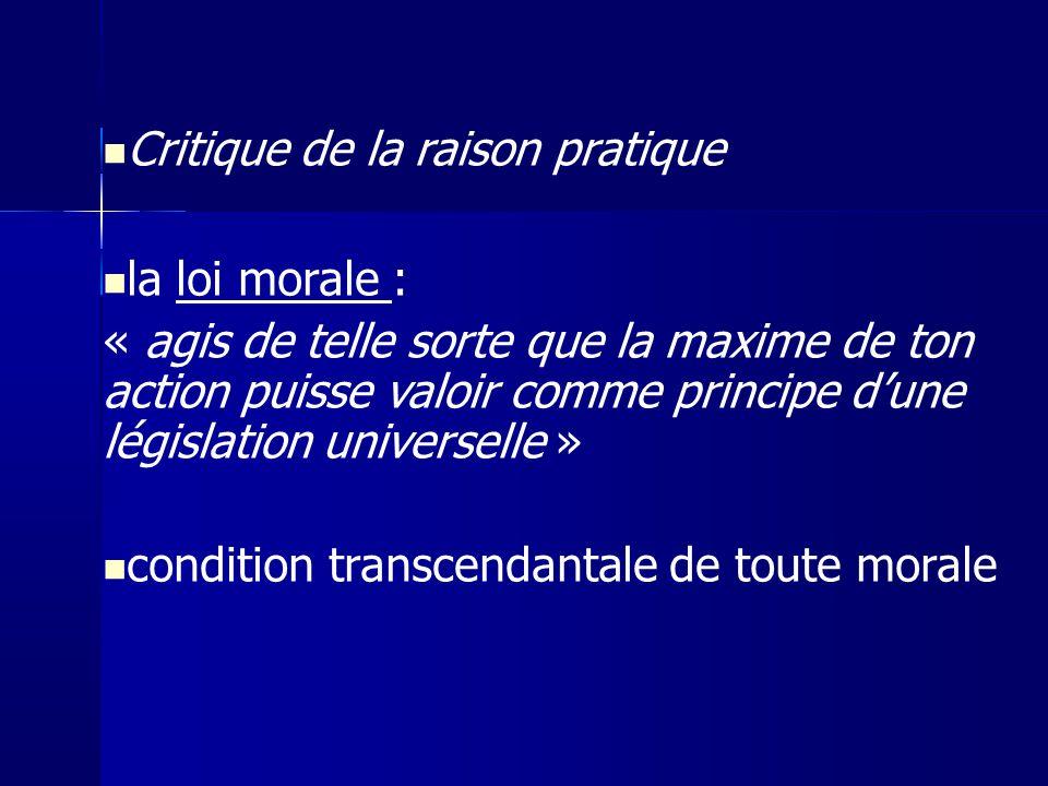 Critique de la raison pratique la loi morale :