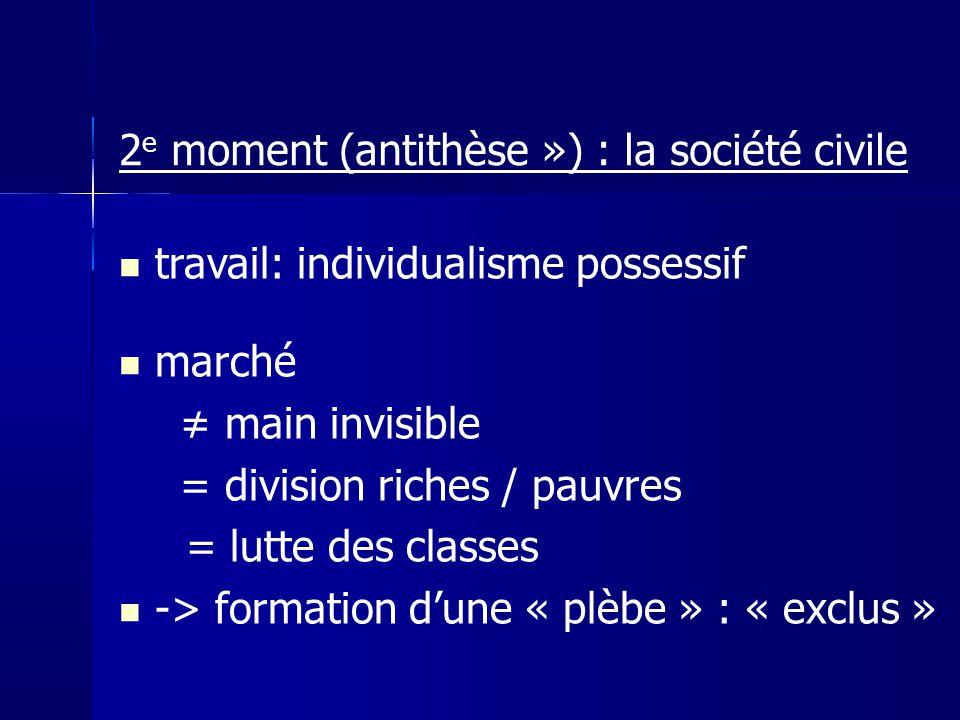2e moment (antithèse ») : la société civile