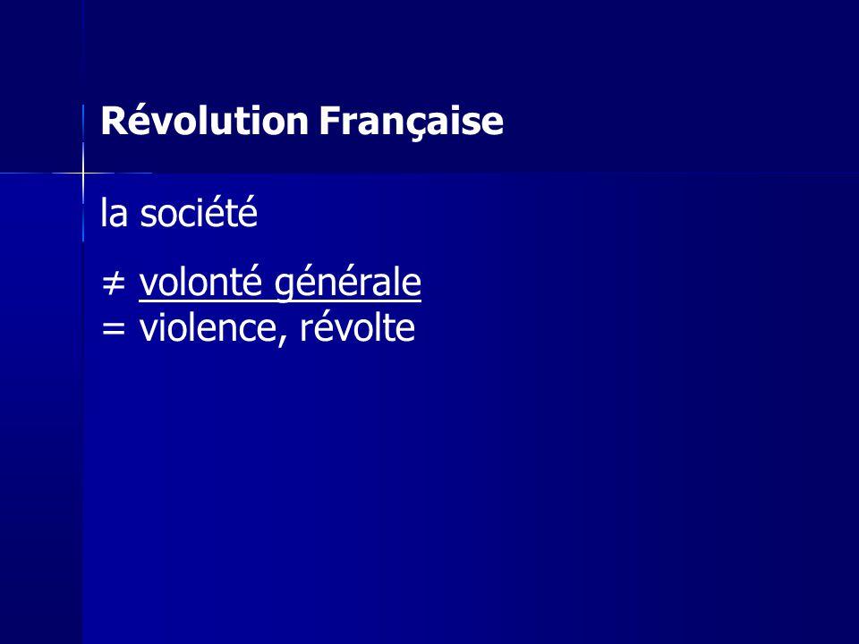 Révolution Française la société ≠ volonté générale = violence, révolte